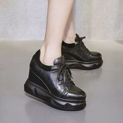 JY Shoes - Hidden Wedge Lace Up Sneakers