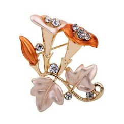 KINNO - Rhinestone Flower Brooch