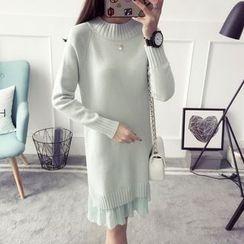 Qimi - Pleated Hem Sweater Dress
