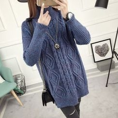 anzoveve - Turtleneck Cable-Knit Long Sweater