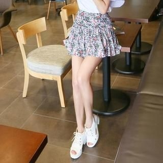 Koo - Floral-Pattern Shirred Miniskirt