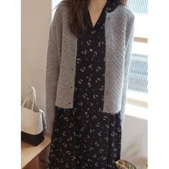 maybe-baby - Textured Wool Blend Cardigan