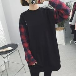 Rocho - Plaid Panel Long Sweatshirt