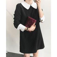 UPTOWNHOLIC - Collared Contrast-Trim Mini Sheath Dress