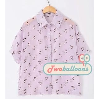 JVL - Short-Sleeve Cat-Print Chiffon Blouse