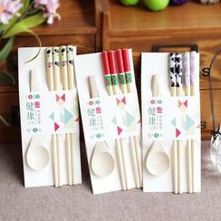 Timbera - Set: Wooden Cartoon Chopsticks + Wooden Spoon