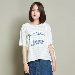11.STREET - Letter Stripe Short-Sleeve T-shirt