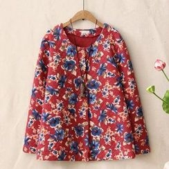 Blue Rose - Floral Print Long-Sleeve Top
