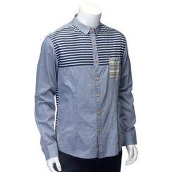YesStyle M - Stripe Panel Shirt