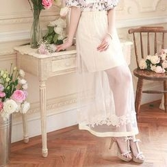 Tokyo Fashion - Lace Trim Maxi Tulle Skirt