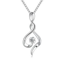 MaBelle - 18K/750 White Gold Ribbon Swirling and Flower Diamond Pendant (0.05 ct) (FREE 925 Silver Box Chain)