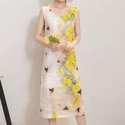 Hummingbird - Floral Print Sleeveless Split Neck Midi Dress