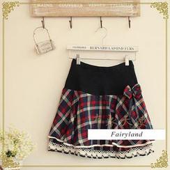 Fairyland - Layered Lace-Trim Plaid Mini Skirt