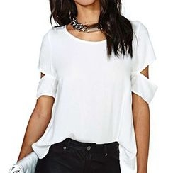 Eloqueen - Short-Sleeve Cutout Chiffon Top