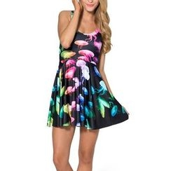 Omifa - Sleeveless Jellyfish-Print A-Line Dress