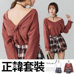 PUFII - 正韓背交叉大V領上衣+格紋褲裙兩件式套裝