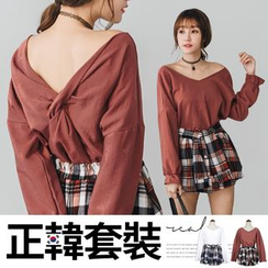 PUFII - 正韩背交叉大V领上衣+格纹裤裙两件式套装