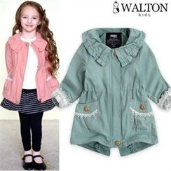 WALTON kids - Girls Frilled-Collar Lace-Trim Parka