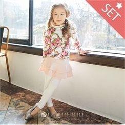 LILIPURRI - Set: Floral Pattern T-Shirt + Inset Skirt Leggings