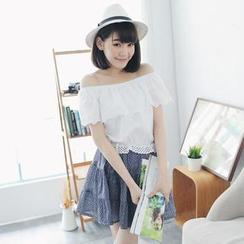 Tokyo Fashion - Off-Shoulder Floral Panel Dress