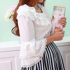 GOGO Girl - Frilled Long-Sleeve Chiffon Shirt