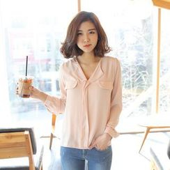 Envy Look - Open-Placket Chiffon Blouse