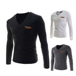 Hansel - Leather Applique V-neck Long-Sleeve T-shirt