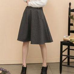 Lucky Leaf - Zip-Back A-Line Midi Skirt