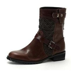 MODELSIS - Quilted-Detail Genuine Leather Ankle Boots