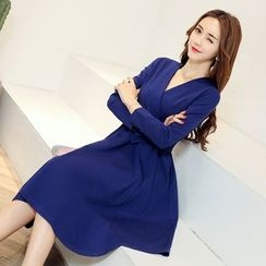 AiSun - V-neck Long-Sleeve Dress