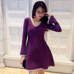 Neon Nite - V-Neck Long Sleeve A-Line Mini Knit Dress