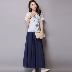 GLIT - Set: Floral Print Linen Short-Sleeve Top + Skirt