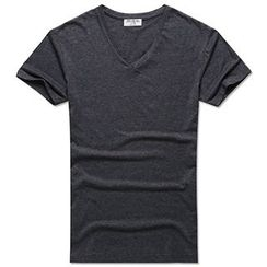 Mannmix - Lettering V-Neck Short-Sleeve T-Shirt