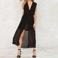 Obel - Sleeveless V-Neck Midi Dress