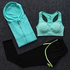 Girasol - Workout Set: Hoodie + Bra Top + Pants