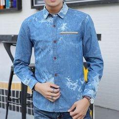 Fusuma - Print Long-Sleeve Denim Shirt