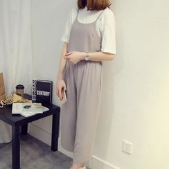 Deedlit - Set: Sleeveless Spaghetti-Strap Top + Wide-Leg Pants