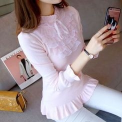 Bubbleknot - Frilled Lace Knit Top