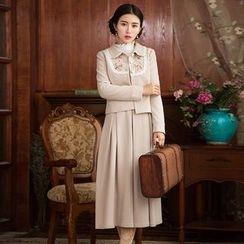 GU ZHI - Set: Embroidered Paneled Buttoned Jacket + Sleeveless Dress