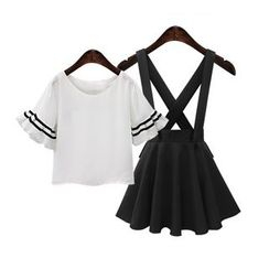 GRACI - Set : Frill Sleeve Top + Suspender Skirt
