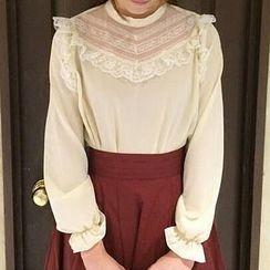 Reine - 蕾丝拼接雪纺衬衫