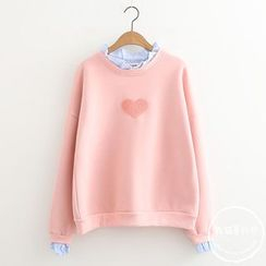 PANDAGO - Heart Mock Two-Piece Pullover