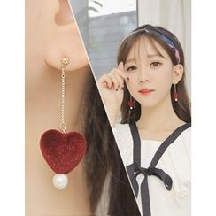 soo n soo - Faux-Pearl Heart Drop Earrings