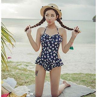 Blue Lagoon - Floral Print Cutout Swimsuit