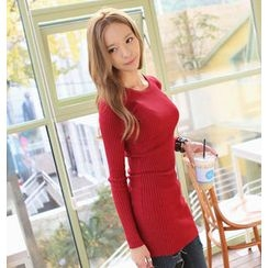 REDOPIN - Round-Neck Rib-Knit Top