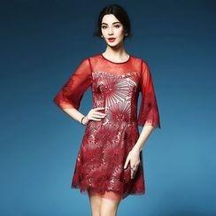 Elabo - Floral Bell-Sleeve A-Line Dress