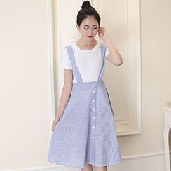 Rollis - Button Down Striped Midi Suspender Skirt