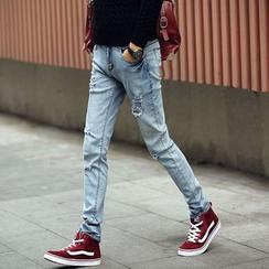 Besto - 修身做舊牛仔褲