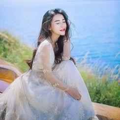 Romantica - Long-Sleeve V-Neck Dress