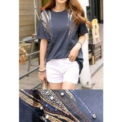 REDOPIN - Sequined Beaded T-Shirt